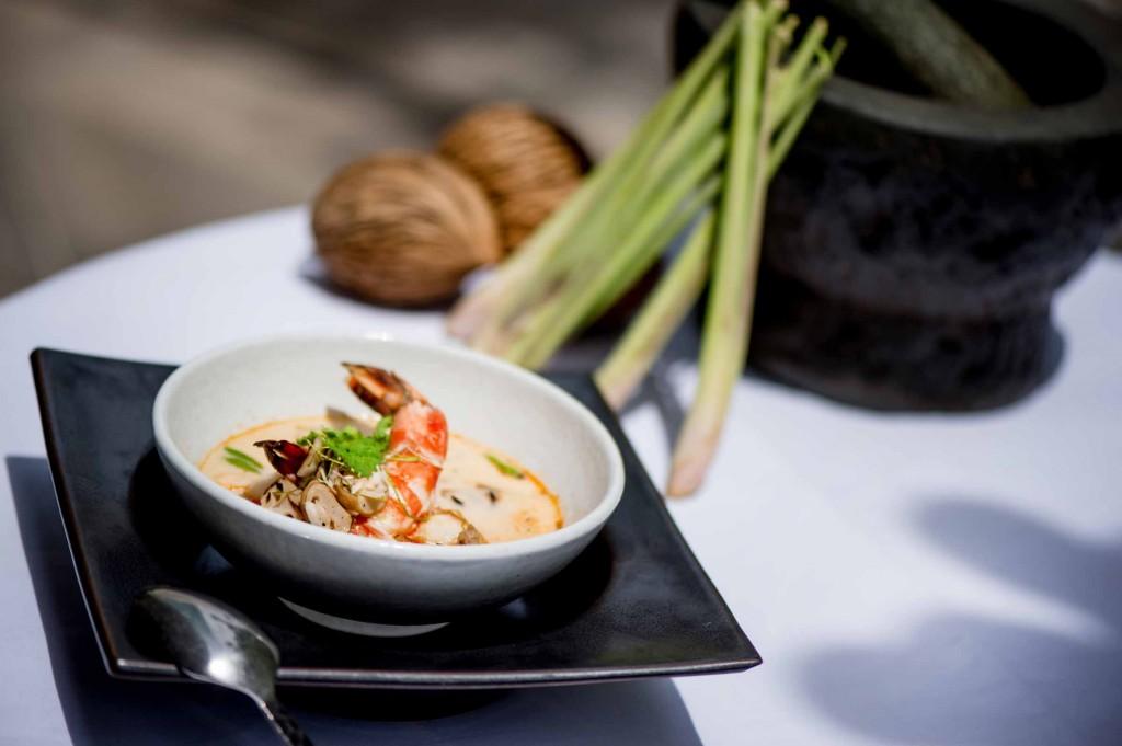 Grilled Tiger Prawn, Charred Oyster Mushroom, Kaffir - Lemongrass Broth