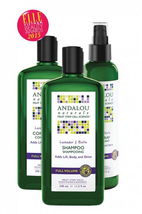 <strong>1.ANDALOU LAVENDER & BIOTINFULL VOLUME</strong><br/>Công nghệ tế bào gốc trái cây của dầu gội Andalou Naturals cải thiện tuổi thọ va sức sống của tóc, giúp tóc khỏe tư gốc đến ngọn. Hoa oải hương nhẹ nhàng làm mới, kích thích nang tóc va sự lưu thông của các dưỡng chất đến tóc. Tổng hợp Biotin B-complex, dầu gội truyền các protein cần thiết giúp cho tóc dày hơn, nhiều sợi và cải thiện sức mạnh, kết cấu để đem lại mái tóc bóng mượt.