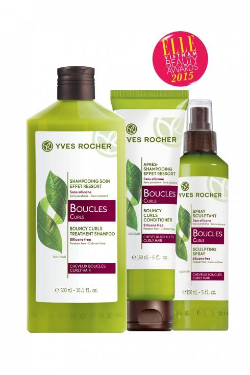 <strong>3.YVES ROCHER BOUCLES CURLS</strong><br/>Dầu gội có chiết xuất từ lá Baobab giúp định dạng và giữ nếp cho tóc uốn. Ngoài ra, thành phần chiết xuất chanh dây nuôi dưỡng tóc cho mái tóc bồng bềnh, khỏe mạnh. Sản phẩm không chứa paraben, không silicon, công thức dễ dàng tự phân hủy sinh học.