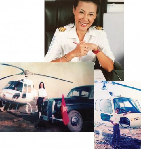 Anoa Dussol Perran bên chiếc trực thăng đã làm nên lịch sử