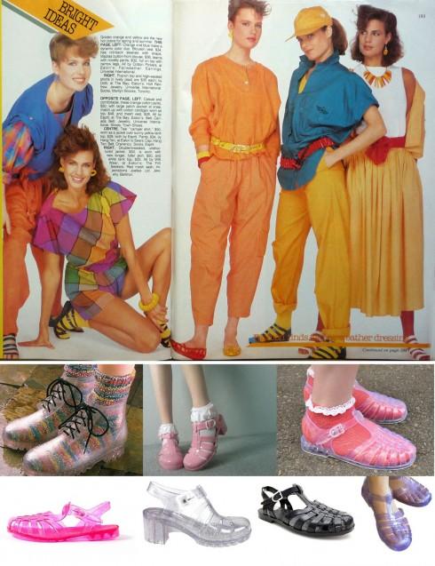 thoi trang thap nien 80 jelly shoes