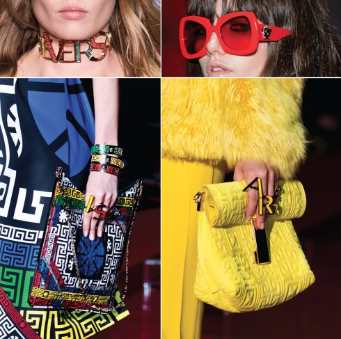 Những ký tự, họa tiết đặc trưng của Versace liên tục được nhắc lại trên những món phụ kiện nổi bật.