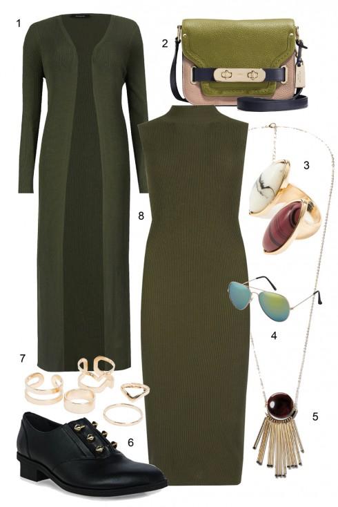 Trendy với đầm xanh quân đội đi cùng áo khoác dài </br> </br> 1. M&amp;S 2. COACH 3. MANGO 4. ALDO 5. MANGO 6. PEDRO  7. MANGO