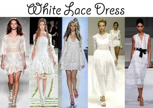 Áo đầm ren trắng trên sàn diễn thời trang