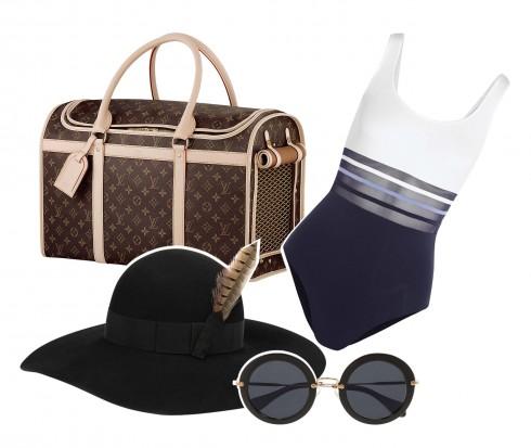 Túi Louis Vuitton, Áo tắm La Perla, Nón Saint Laurent, Mắt kính Miu Miu