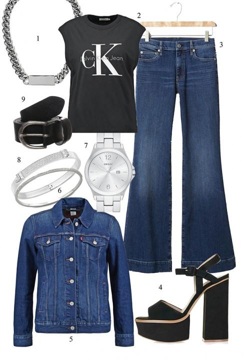 Trẻ trung với cả bộ jeans </br> </br> 1. BANANA REPUBLIC 2. CALVIN KLEIN JEANS 3. GAP 4. TOPSHOP 5. LEVI'S 6. SWAROVSKI 7. DKNY 8. SWAROVSKI 9. LEVI'S