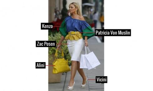 Áo cách điệu của Kenzo , chân váy Zac Posen, giầy cao gót Vicini , túi Alini, và thắt lưng Patricia Von Muslin