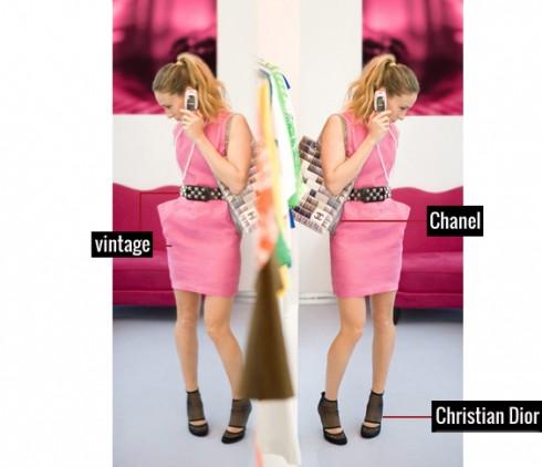 Quý cô hiện đại thật phá cách khi phối đầm cùng thắt lưng Vintage, giầy Dior và túi xách loại to của Chanel