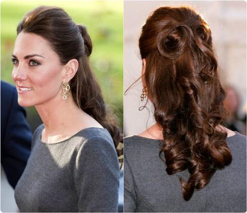 Kiểu tóc đẹp của công nương Kate Middleton - tóc búi một nửa