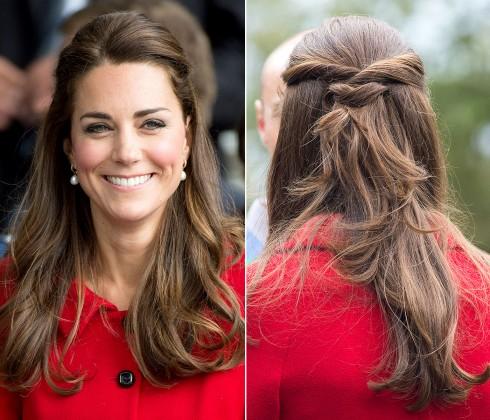 Kiểu tóc đẹp của công nương Kate Middleton - tóc cột một nửa