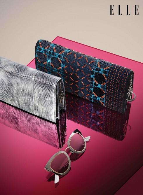 Kính mát và clutch Dior