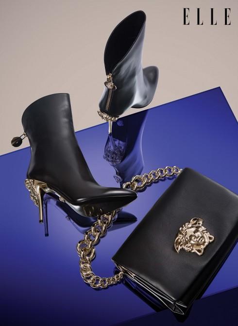 Giày bốt và clutch Versace