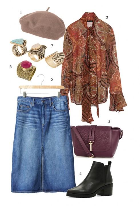 Áo blouse họa tiết vintage và váy midi jeans đậm chất 1970s</br></br> 1. TOPSHOP 2. ZARA 3. WAREHOUSE 4. ALDO 5. GAP 6. MANGO 7. ALDO
