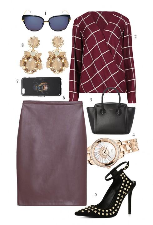 Chút táo bạo với đường xẻ ngực sâu từ kiểu áo wrap blouse màu đỏ mận </br> </br> 1. THOM BROWNE 2. MARKS & SPENCER 3. FURLA 4. DIOR 5. ALDO 6. MANGO 7. GIVENCHY 8. COAST