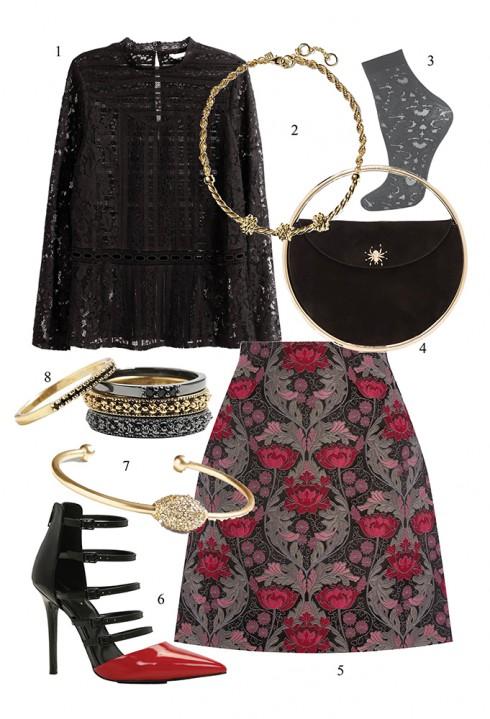 Quyến rũ với áo blouse ren </br> </br> 1. H&M 2. BANANA REPUBLIC 3. TOPSHOP 4. CHALOTTE OLYMPIA 5. WAREHOUSE 6. ALDO 7. BANANA REPUBLIC 8. BANANA REPUBLIC