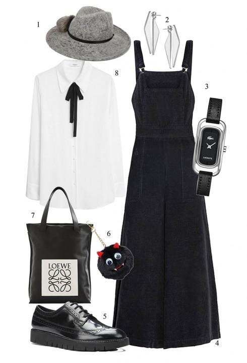 Phối quần yếm cùng áo blouse tông màu trắng đen </br></br> 1. ASOS 2. TOPSHOP 3. LACOSTE 4. PIXIE MARKET 5. GEOX 6. ASOS 7. LOEWE 8. MANGO
