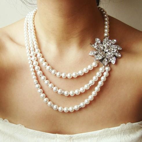 trang suc ngoc trai bridal pearl vintage wedding jewelry