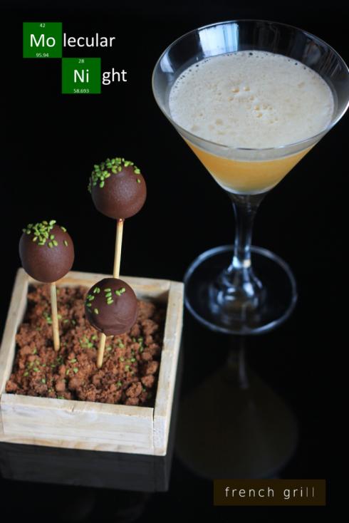 Gan ngỗng được bọc bằng kẹo socola, rắc wasabi cô đặc,  vị ngọt và vị ngậy sẽ hòa quyện với nhau.