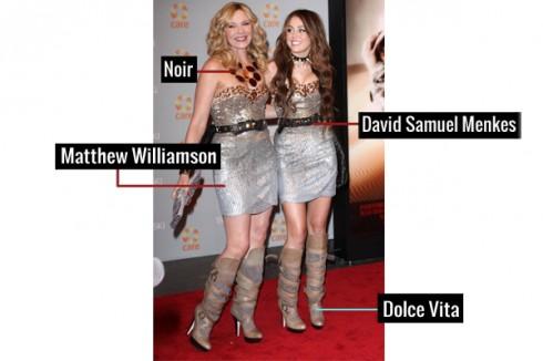 """Không kém phần trẻ trung khi """"đụng hàng"""" với nữ ca sĩ trẻ cá tính Miley Cyrus khi diện trang phục đôi gồm: đầm cúp ngực Matthew Williamson, thắt lưng David Samuel Menkes, giầy boot cao của Dolce Vita và vòng cổ Noir."""