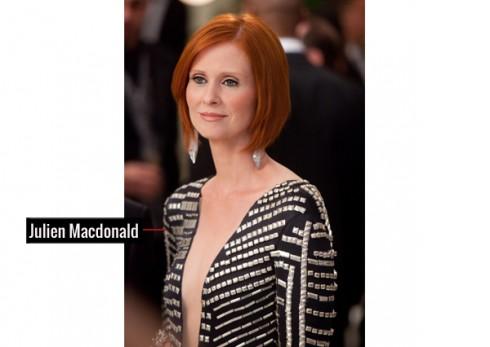 """Đầm khoét ngực sâu của hãng Julien Macdonald đã """"vô tình"""" tạo nên khoảnh trống quyến rũ """"chết người"""" cho Miranda"""