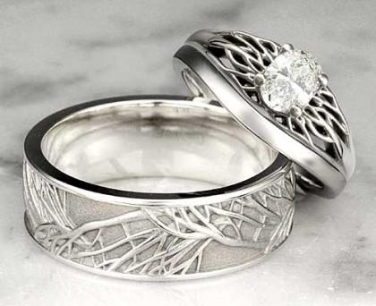 Nhẫn cưới được thiết kế trang nhã với hoạ tiết nhánh cây