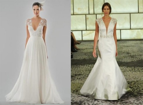 Váy cưới cổ chữ V sẽ giúp cân bằng cơ thể của bạn hơn
