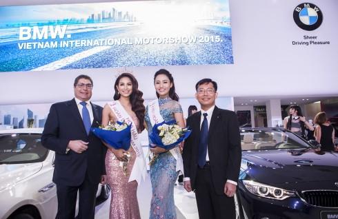 Hoa hậu Hoàn Vũ Việt Nam 2015 Phạm Hương và Á hậu 1 Trà My là hai đại diện sắc đẹp được sử dụng xe BMW trong 1 năm.
