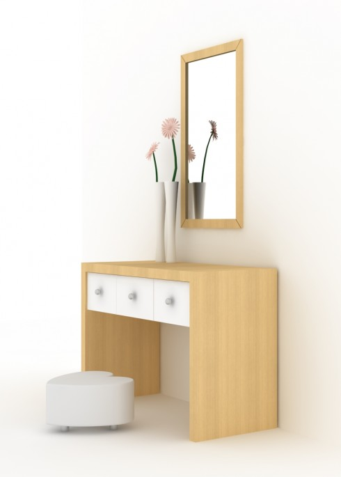 Bàn phấn làm từ chất liệu gỗ sẽ mang lại vẻ thanh nhã cho căn phòng