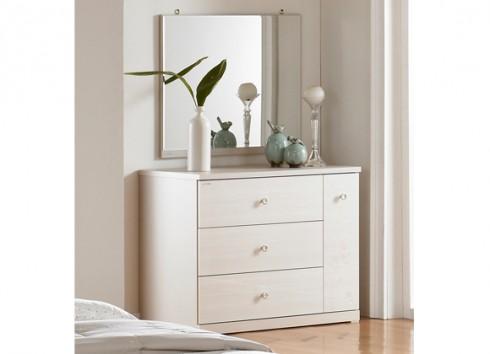Bàn phấn với thiết kế tối giản cùng những đường nét góc cạnh cho căn phòng thêm nhã nhặn