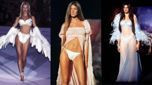 Dàn thiên thần nổi bật trong show diễn từ trái qua: Karen Mulder, Gisele Bundchen, Stephanie Seymour