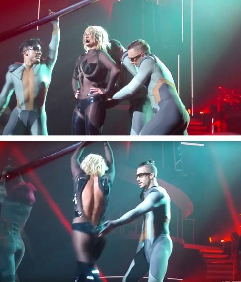 Khóa kéo của bộ jumsuit bó sát của Britney Spears bị bật tung khi cô đang biểu diễn