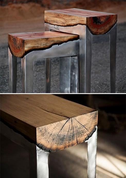 Bàn thô được làm từ gỗ và nhôm đúc. Nhôm nóng chảy được đổ trực tiếp lên gỗ khiến cho phần tiếp giáp bị đốt nóng, tạo nên sự chuyển màu độc đáo. Sản phẩm vừa có chiều sâu, vừa thể hiện sự kết hợp mới mẻ giữa yếu tố tự nhiên và yếu tố công nghiệp.