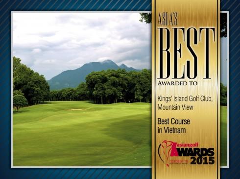 """BRG Kings' Island Golf Resort lần thứ hai liên tiếp nhận giải thưởng """"Sân gôn tốt nhất Việt Nam"""" tại Hội nghị Golf Châu Á Thái Bình Dương năm 2015."""