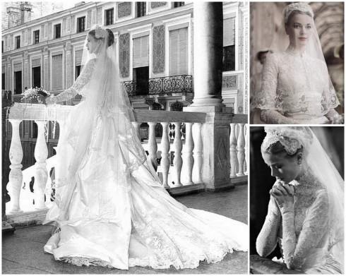 Vừa là một diễn viên, biểu tượng thời trang vừa là bà hoàng của Monaco, Grace Kelly là một trong những cô dâu đẹp và thanh lịch nhất thế giới. Trong đám cưới, nàng lựa chọn chiếc váy khá cầu kỳ với phần cổ đính ren tuyệt đẹp. Chiếc váy này đã truyền cảm hứng cho váy cưới của Kate Middleton sau này.