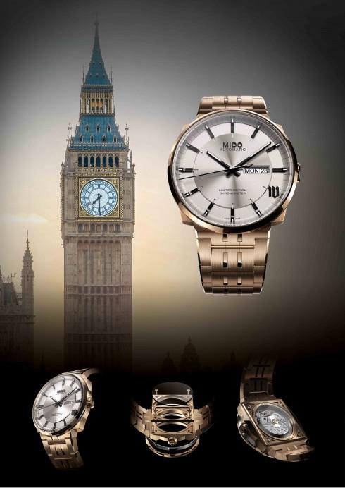 Phiên bản đồng hồ MIDO Big Ben sở hữu đầy đủ và chi tiết biểu tượng của London nổi tiếng từ phần ngả bóng mô phỏng các ô kiến trúc cho đến phần mặt đồng hồ được đặt trong lớp vỏ khối tròn đặt trên một lớp đáy vuông.