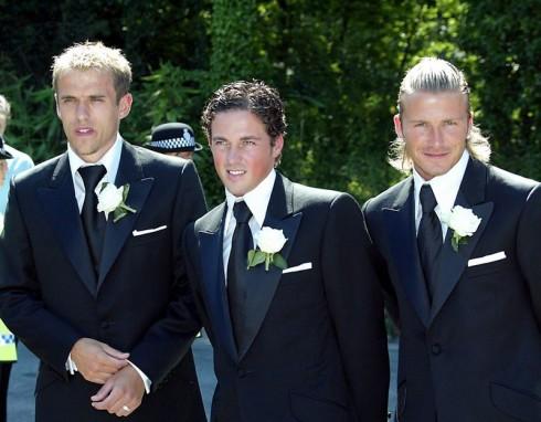 Danh thủ David Beckham cùng 2 người bạn thân là Phil Neville và Dave Gardner.