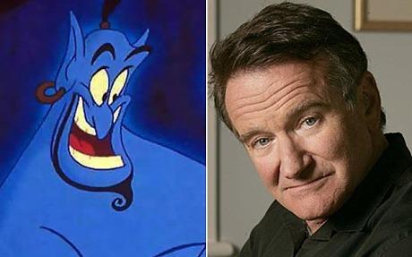 Robin Williams lồng tiếng cho nhận vật Thần Đèn Genie in the Bottle, trong Aladdin (1992)