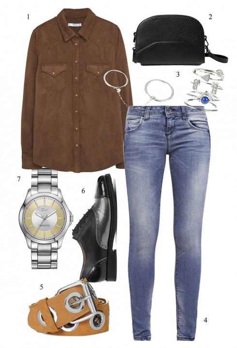 Chọn sơ mi da lộn sơ-vin phong cách cùng quần jeans </br> </br> 1. MANGO 2. MANGO 3. ACCESSORIZE 4. UNITED COLOR OF BENETTON 5. TOPSHOP 6. GEOX 7. LACOTSE