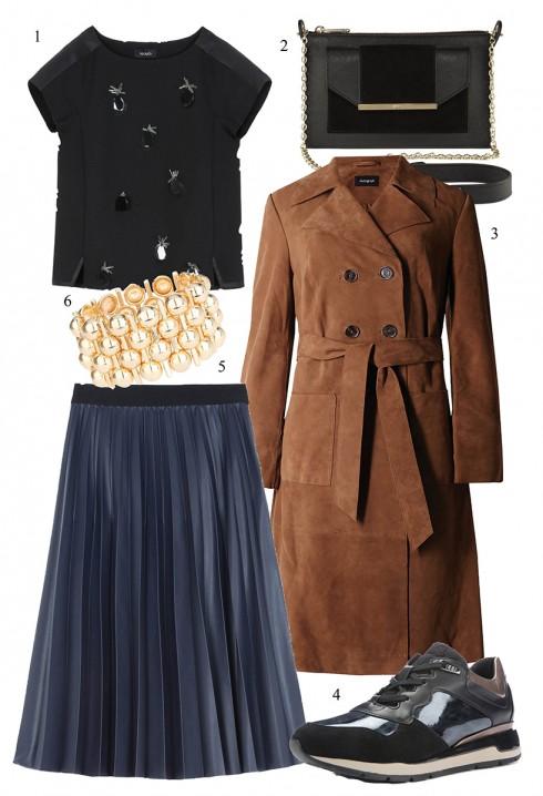 Áo khoác dài da lộn phối cùng váy xếp pli </br> </br> 1. MAX & Co. 2. DKNY 3. MARKS & SPENCER 4. GEOX 5. MAX & Co. 6. TOPSHOP