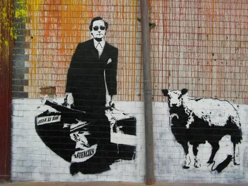 Một tác phẩm của Blek le Rat, họa sĩ graffiti người Pháp đã truyền cảm hứng cho Banksy