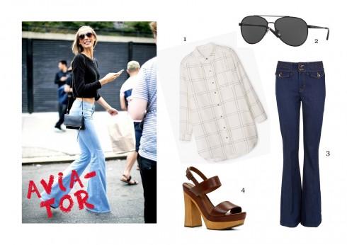 1-Áo sơ mi/blouse thoải mái, 2. Mắt kính Avivator, 3-Quần jeans ống loe và 4-Giày cao gót platform là những gì bạn cần để tạo nên phong cách 70 phóng khoáng.