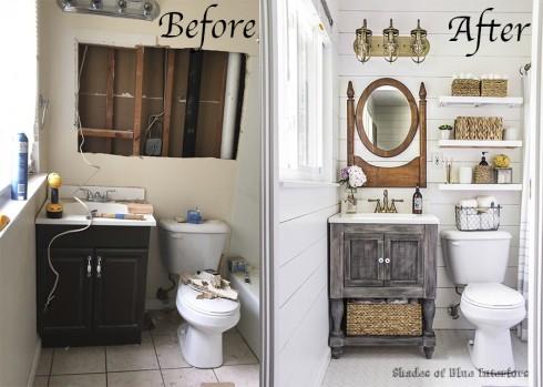 Phòng tắm nhà Rachel trước và sau khi cải tạo
