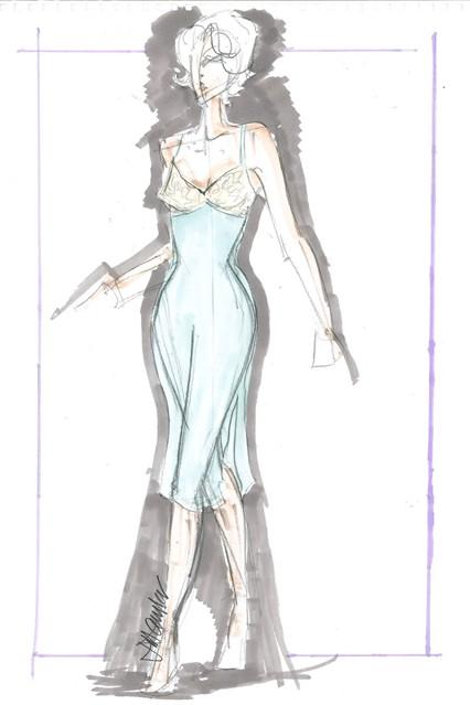 Sketch của nhà thiết kế trang phục phim Jill Taylor.