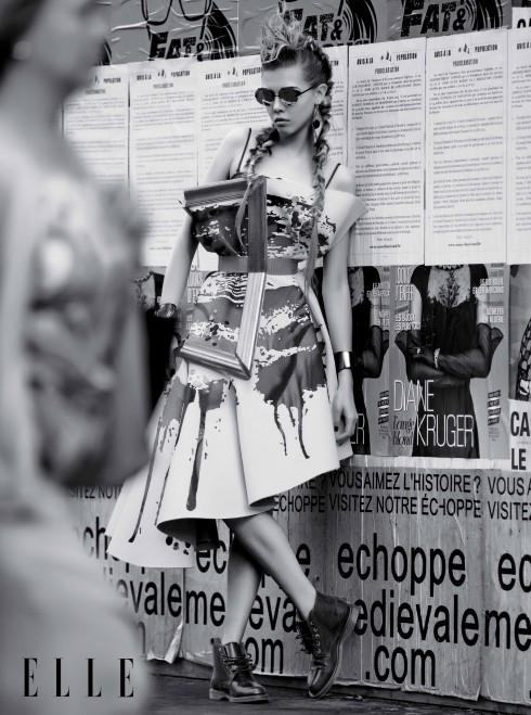 VIKTOR & ROLF HAUTE COUTURE<br/>Đầm bằng vải canvas và khung gỗ Kính mát Cast Eyewear, Hoa tai cẩm thạch Argument, Vòng tay da The Middle