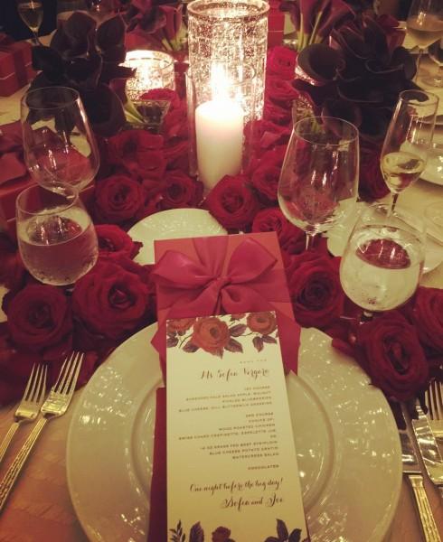 Trang trí bàn tiệc trong lễ cưới của joe Manganiello và Sofia Vergara