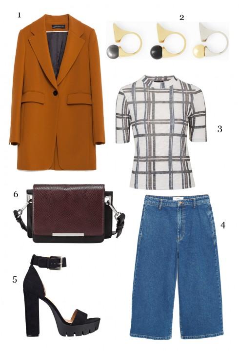 CÁCH PHỐI 6: 1-Áo blazer Zara, 2-Set nhẫn Chloé, 3-Áo Topshop, 4-Quần Mango, 5-Giày Nine West, 6-Túi Marks & Spencer.