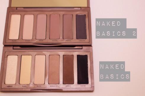 So sánh bảng màu giữa 2 phiên bản 1 và 2 của Urban Decay Naked Basics Palette