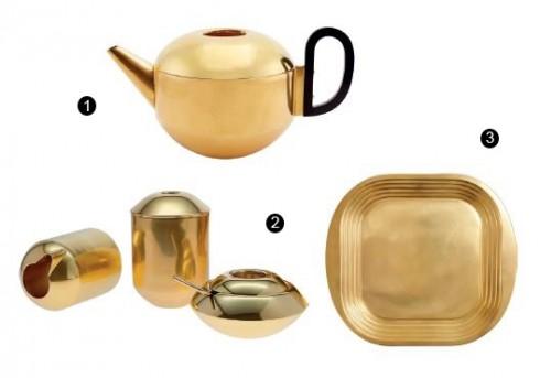 1. Bình trà Form; 2. Bộ hộp trà và hộp đường; 3. Khay trà.
