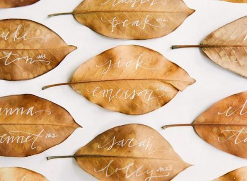 Đừng vội bỏ qua những chiếc llá khô! Bạn vẫn có thể tận dụng được bằng việc viết tên khách mời,  trang trí bàn tiệc.