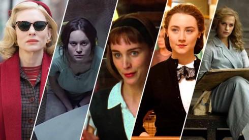 Ứng cử viên cho hạng mục Nữ diễn viên phim chính kịch xuất sắc nhất (từ trài sang): Cate Blanchette, Brie Larson, Rooney Mara, Saoirse Ronan, Alicia Vikander.